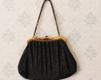 Vintage Black and Gold Whiting and Davis Mesh Purse