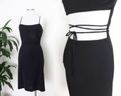 90s VERSACE Black Dress Backless Strappy Spaghetti Strap Thin Cut Out Waist Wrap Small 30 44 Versus Versace