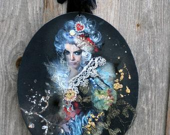 Wicked princess - original art, collage painting, with antique  textiles, laces, ephemera