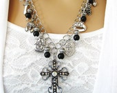 Black Beaded Armor of God Necklace, Armor of God Charms, Cross Necklace, Christian Jewelry, Religious Jewelry, Gift for Her,  N-709
