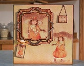 "Extra Large Birthday Card - 8"" x 8"" - Beautiful Copper Foil Accenting - Little Girl Walking in the Rain with her Kitten"