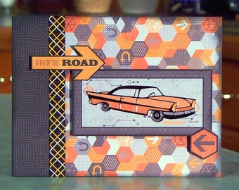 "Handmade Father's Day Card - King of the Road - 6.5"" x 5"" - A Classic Car for The Coolest Dad!"