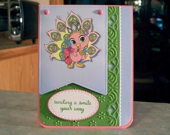 """Handmade Greeting Card - 4.25"""" x 5.5"""" - Stampin Up Love & Affection - Adorable Pink Peacock, Sending a Smile Your Way!"""