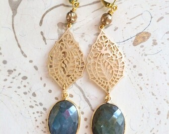 Labradorite Paisley Earrings Holiday Jewelry by MinouBazaar