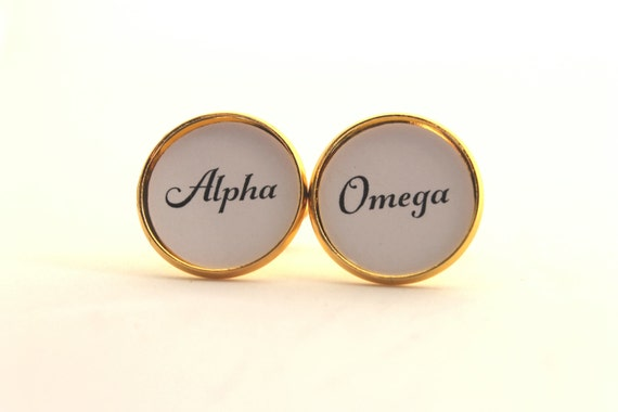 Gift for Him, Alpha, Omega, Men's Cufflinks