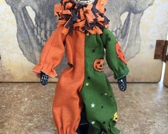 OOAK Day of the dead mini posable art doll dia de los muertos halloween clown sugar skull skeleton green black orange jack-o-lantern cat