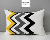 Yellow Chevron Pillow Cover, Black White Grey Outdoor Pillow Cover, Modern Geometric, Decorative Sunbrella Pillow Cushion Cover, Mazizmuse