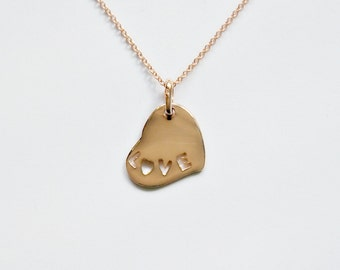"""Rose gold heart necklace 17"""" - love charm - pink smooth everyday layering necklace - romantic gift for her - simple jewelry - Samantha"""