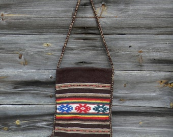 Vintage Woven Purse, Boho Purse, Crossbody Bag, Blanket Purse, 1970s Southwestern Saddle Blanket Messenger Bag, Brown Woven  Shoulder Bag