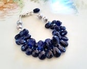 Exquisite Midnight Blue Chalcedony Briolette Bracelet with Sterling