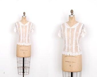 Vintage 1970s Blouse / 70s Open Weave Crochet Knit Top / White (S M)
