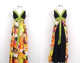 Vintage 1960s Jumpsuit / 60s Floral Palazzo Pants Jumpsuit / Black and Green (XS S)
