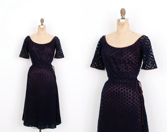 Vintage 1950s Dress / 50s Claire McCardell Knit Dress / Navy (small S)
