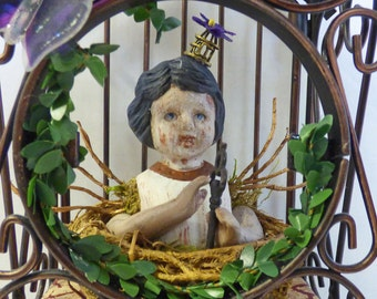 Altered Doll Assemblage - Creepy Doll Art - Bird Cage Assemblage