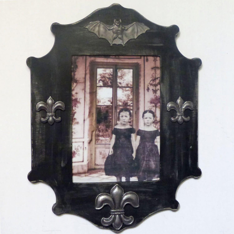 Gothic Home Decor Creepy Children Art Print Bat Frame