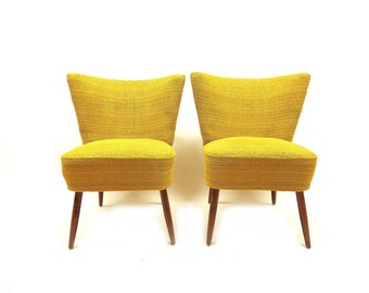 Pair Of Vintage Chairs In Mustard Yellow Tweed: Made In West Germany