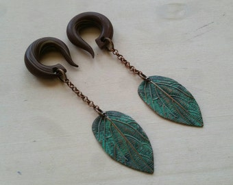 Green Leaf Drop Gauged Earring Plugs with Green Patina
