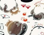 Japanese Tenugui Towel Cotton Fabric, Funny & Kawaii Raccoon Dog, Kawaii Animal Design, Hand Dyed Fabric, Home Decor, Wall Art, Scarf, k223