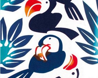 Japanese Tenugui Towel Cotton Fabric, Tropical Cute Bird, Botanical Leaf Fabric, Hand Dyed Fabric, Modern Art Wall hanging, Wall Decor, k255
