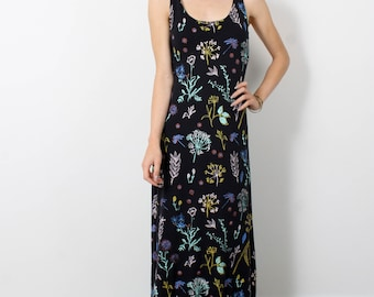 Night Garden Maxi Dress in Pale Pink, Ochre, Mint Green, Bright Blue and Rust on Black