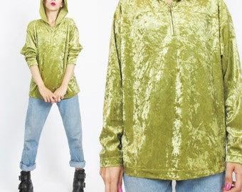 90s Crushed Velvet Shirt Hooded Top Lime Green Velvet Top Velvet Blouse Vintage Slouchy Crushed Velvet Top Grunge Club Kid Tunic Top (L)