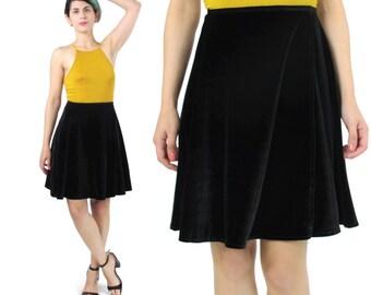 25% OFF SALE 90s Black Velvet Mini Skirt High Waisted Skater Skirt Minimalist Black Flared Skirt Stretch Velvet Ballet Dance Skirt (XS/S)