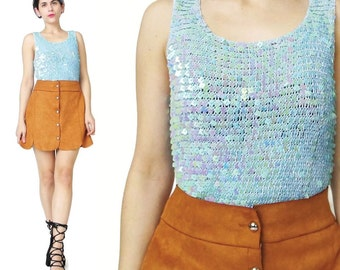 1990s Blue Crochet Sequin Tank Top Baby Blue Knit Tank Top Embellished Party Top Fancy Party Evening Mesh Chainmaille Square Sequins (S)