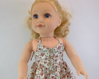 18 inch  Doll  Dress Fits American girl Doll Beige  Halter Dress Rust Flowers Toys