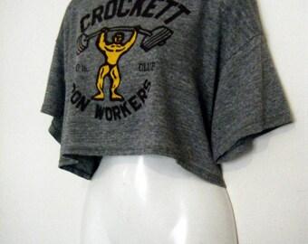 80s Gray Cropped WORKOUT  t-shirt, half shirt,  super soft crop top tee, size xl