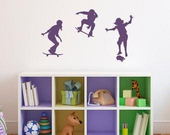 Girl Skateboarder Wall Decal - Set of Three Skateboard - GIRL Bedroom Wall Sticker