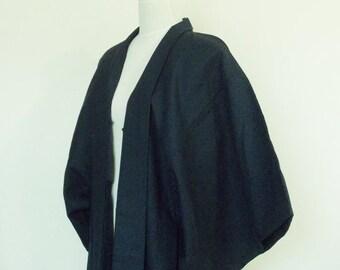 Vintage Men's KIMONO jacket HAORI wool for winter dark navy blue size s ready to ship