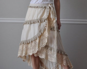 Wrap Skirt - Ivory Embroidered Cotton, Ecru/Ivory Crochet Lace Wrap Ruffled Skirt, Women's Wrap Skirt, Size S-XL
