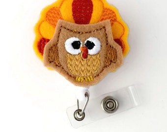 Tina the Turkey - Retractable ID Badge Reel - Name Badge Holder - Unique Badge Reel - Nurse Badge Holder - Nursing Badge Clip - Felt Badge