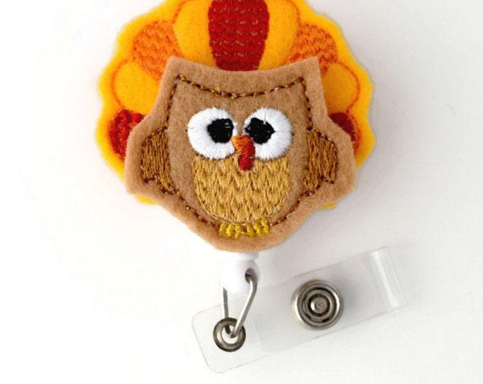 Tina the Turkey - Retractable ID Badge Reel - Name Badge Holder - Unique Badge Reel - Nurse Badge Holder - Nursing Badge Clip - Felt Badge