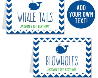 INSTANT DOWNLOAD Whale Party Buffet Cards - EDITABLE Printable File