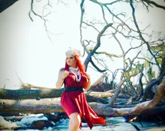 Holiday burgundy red Gypsy Tunic Dress, Bohemian Magnolia lace Pearl tunic, Boho dresses Stevie Nicks Style, Romantic True Rebel clothing OS