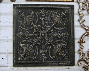 Tin Ceiling Tile. 2'x2'  FRAMED Ready to Hang.  Vintage architectural salvage from Texas. Black metal wall decor. Tin tile. Old pressed tin.