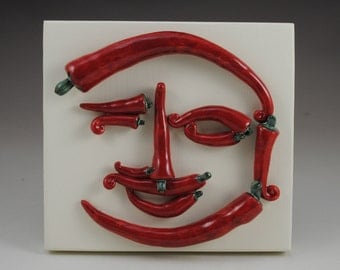 Picasso's Peppers Red Ceramic Clay Chili Peppers Arcimboldo