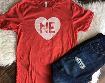 ADULT NEbraska Heart: Screen Printed on Red Crew Neck Short Sleeve T-Shirt- X-Small, Small, Medium, Large, X-Large