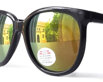 vintage 1980's NOS round sunglasses black plastic frames yellow green red revo mirror lenses sun glasses eyewear accessories accessory new