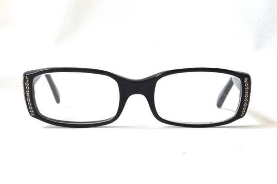 vintage 1950s square eyeglasses black plastic frames