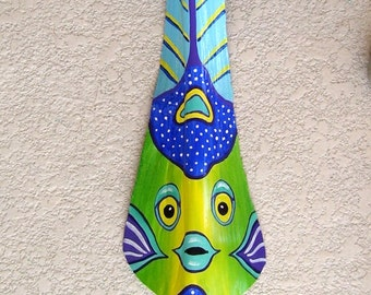 Queen Angelfish Tiki Mask on Fan Palm Frond