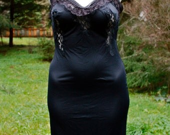 Sexy Classic Black Up-Cycled Slip Dress with Lace Appliqués