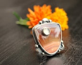 Moonrise Sunset Banded Agate Ring Sterling Silver Statement Ring Large Ring Cocktail  Moonstone Ring Ready to Ship
