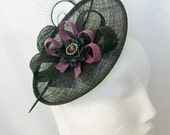 Black and Amethyst Plum Upback Saucer Sinamay Loop Curl Feather & Crystal Fascinator Hat- Made to Order - Royal Ascot -Derby
