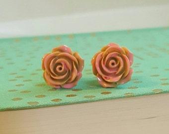 Light Pink and Tan Rose Flower Plugs Gauges 10g , 8g t368