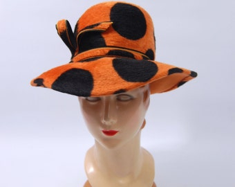 60s Orange and Black Hat - Fur Felt Floppy Hat - Polka Dot Hat - Pimp Hat - Early 70s Hat - High Crown Made in Italy