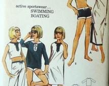 70s Misses Active Sportswear Swimming Boating Butterick Sewing Pattern 3546 Size 14 Bust 34 Beachdress Bra Bolero Pants Briefs UnCut