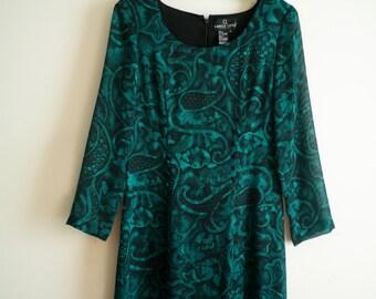 Vintage Carole Little Long Paisley Print Dress Size 6, SALE