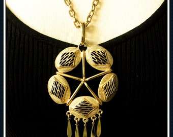 Vintage Large Gold Tone Pendant Necklace, Circular, Oval, Long Chain, Dangle, 1980's